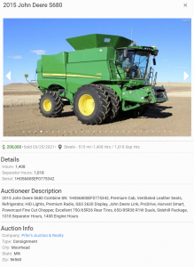 John Deere S680 Comparable Value for $200,000