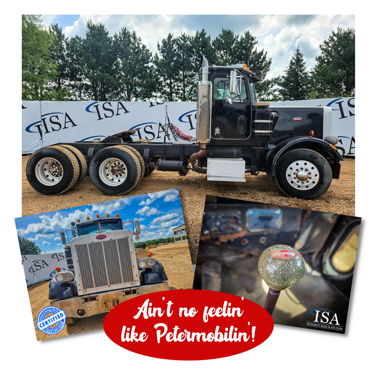 Collage of photos of a black Peterbilt 359 day cab semi truck at an auction