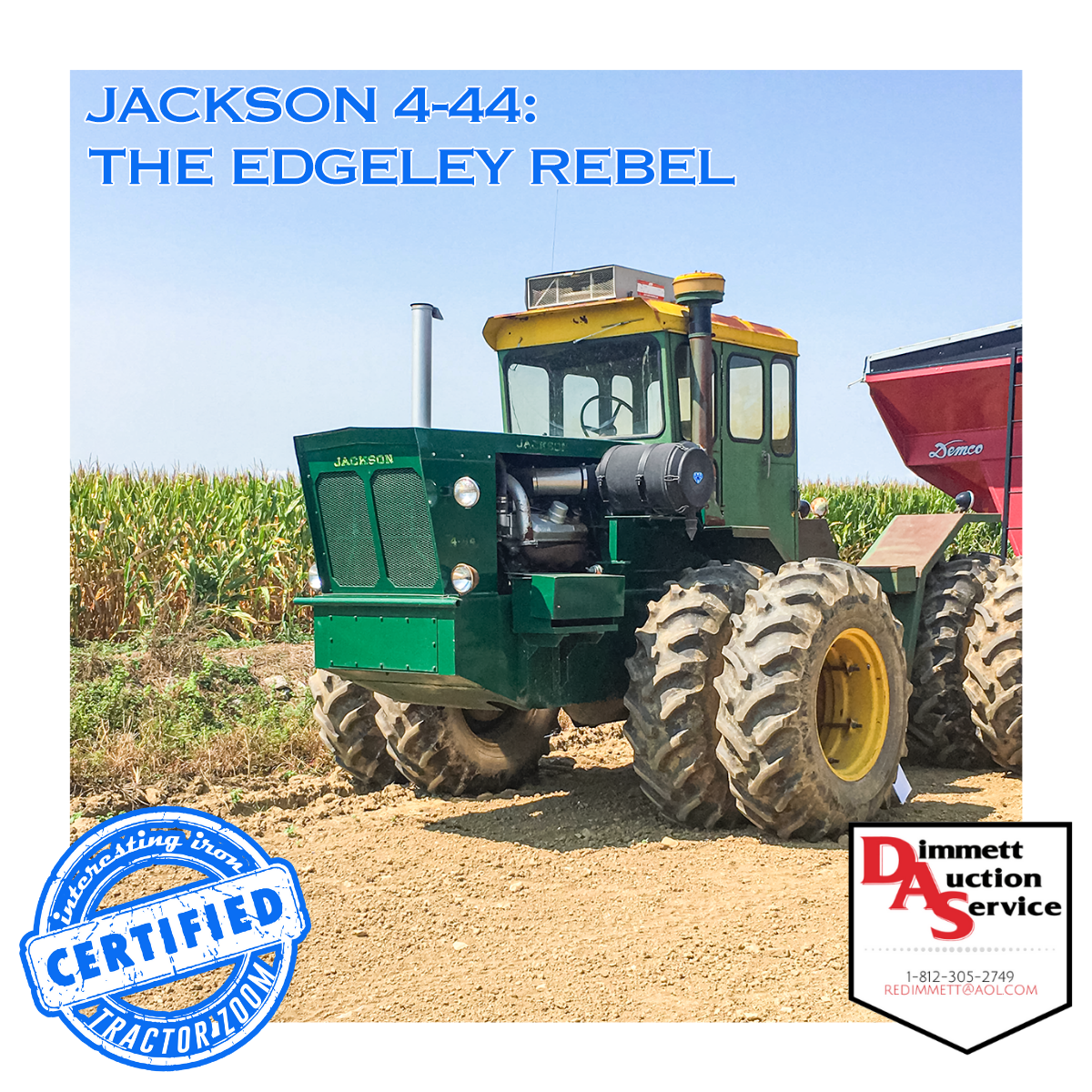 angled front photo of a Jackson 4-44 tractor at auction sitting in front of a cornfield on a sunny summer day