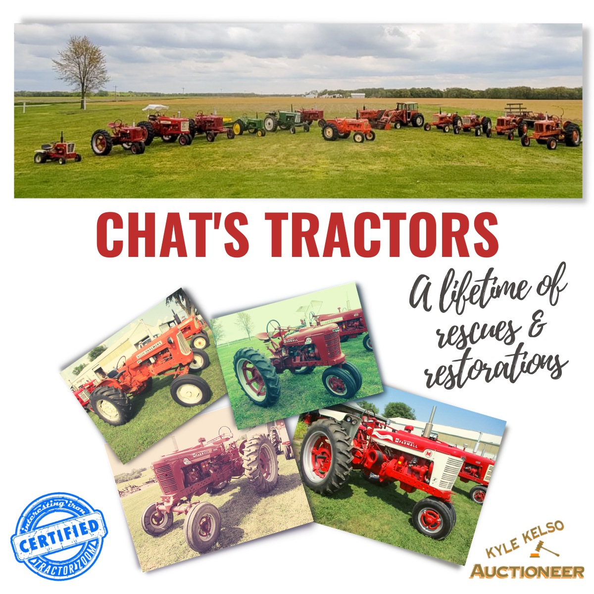 photos of antique farmall, allis chalmers, oliver, and john deere tractors