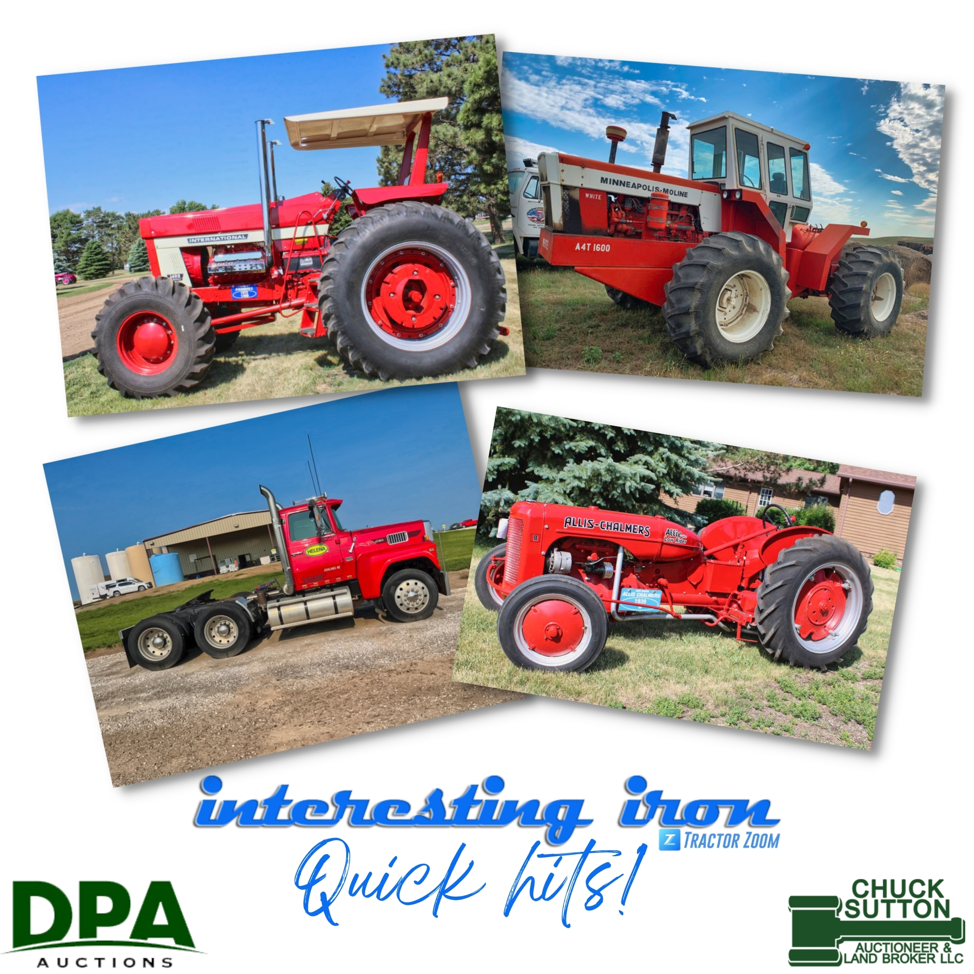 Collage of photos of three red tractors and a semi