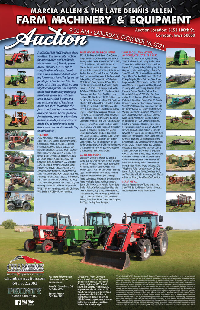 farm equipment auction poster